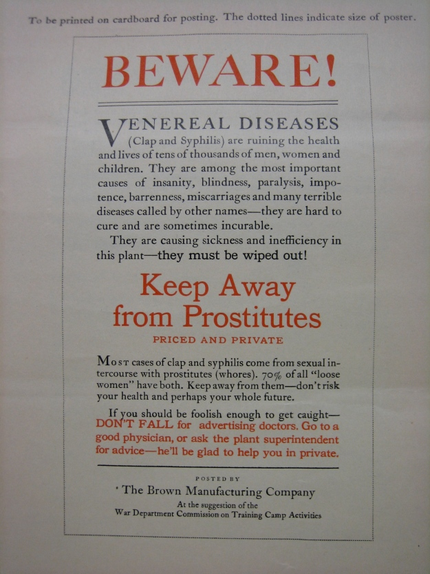 "government propaganda sent to corporations to post as part of the ""war against prostitution"" during wwi, archival document from the university of idaho library's special collections (potlatch papers)"