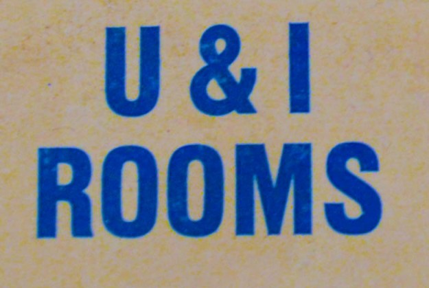 U&I Rooms Matchbook Image. (Photo by Heather Branstetter, with thanks to John Hansen)
