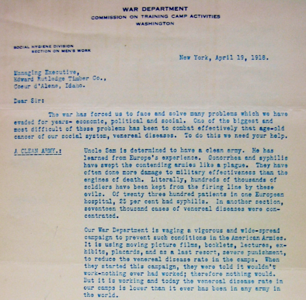 Letter from the War Department soliciting businesses to help eradicate prostitution